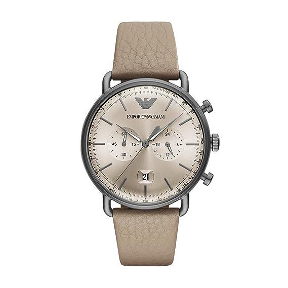 Emporio Armani Reloj Analogico para Hombre de Cuarzo con Correa en Cuero AR11107: Amazon.es: Relojes