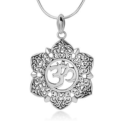Amazon chuvora sterling silver open filigree lotus flower om chuvora sterling silver open filigree lotus flower om ohm aum symbol pendant necklace for women mightylinksfo