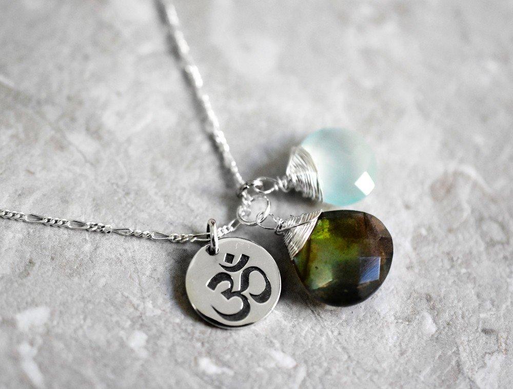 925 Silber OM /& Aquamarin /& Labradorit Kette