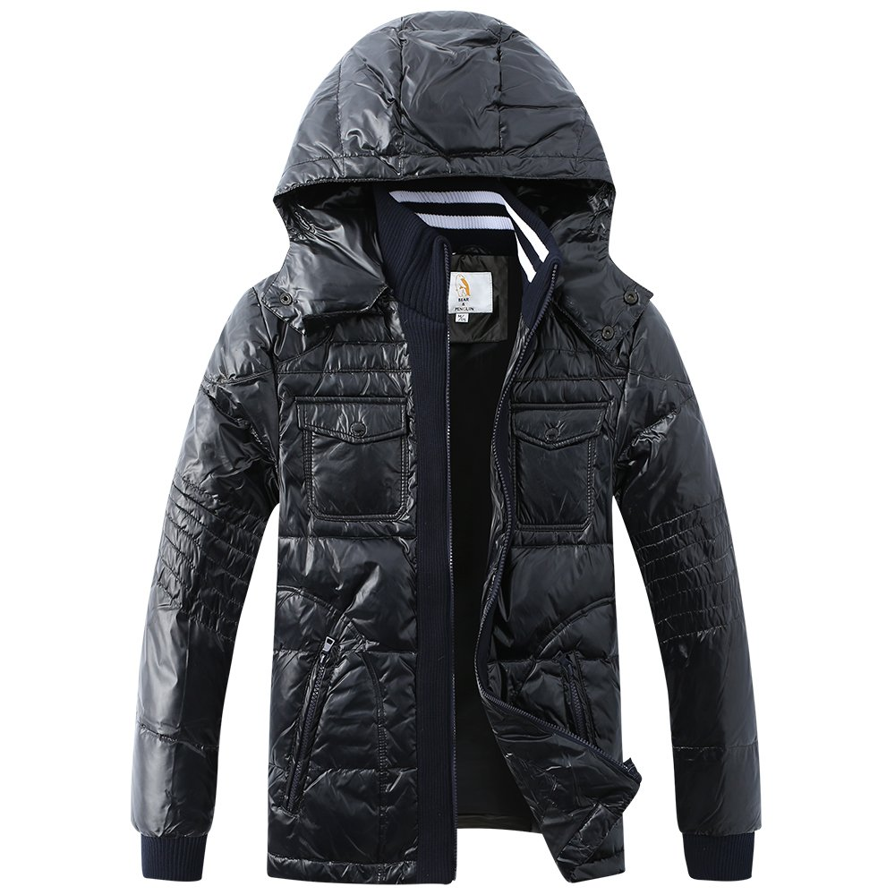 BEAR&PENGUIN Men's Down Jacket Coat Ultra-Lightweight Packable Black by BEAR&PENGUIN