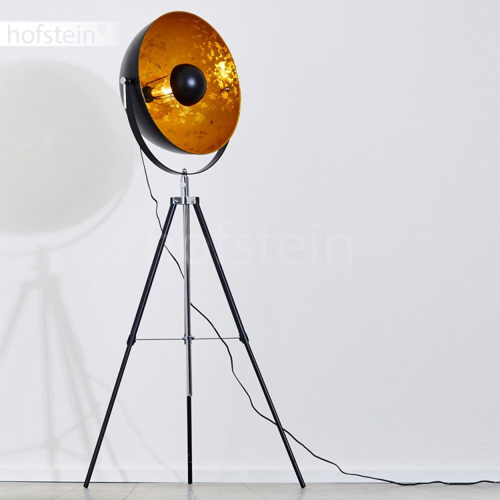 Lampe sur pied projecteur Saturn XXL Luminaire design industriel chic compatible avec des ampoules LED hofstein H311849 Lampadaire trépied en métal noir avec coupole dorée pivotante et pied télescopique
