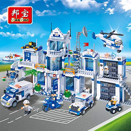 PampasSK Blocks - Police Station Educational Building Blocks Toy for Children Gifts City Heroes Car Helicopter Boat Moto Weapon Stickers 1 - E Price Moto
