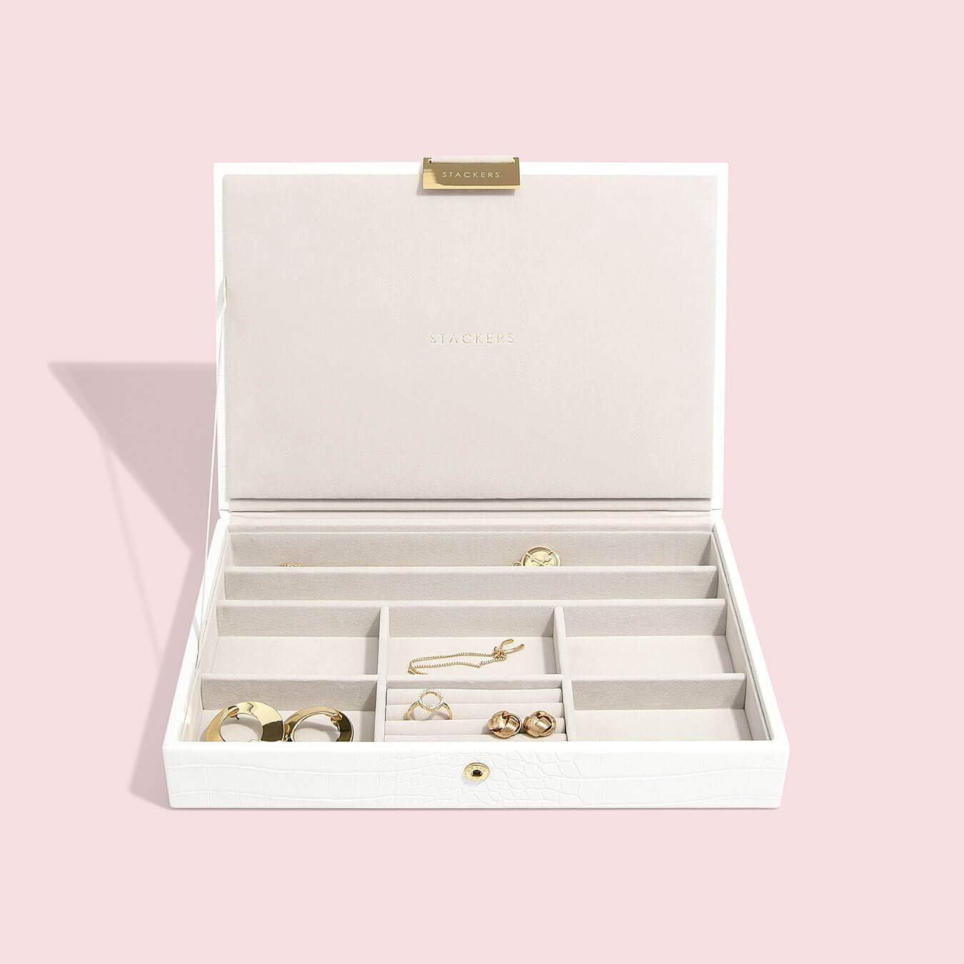 Similpelle medium Rosa pastello con classico design a pelle di coccodrillo Portagioie di dimensioni medie set da 3 pezzi Stackers