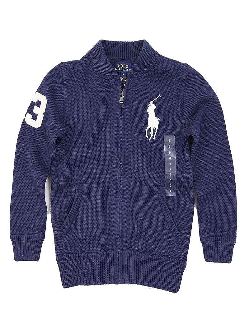 Polo Ralph Lauren Boy's Cardigan Sweater Big Pony Navy M (10-12)