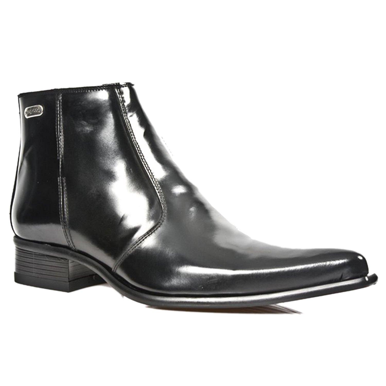 New Rock M.2260-S20 Metallische Schwarze Patent Stiefeletten Stiefel Western Metallschuhe