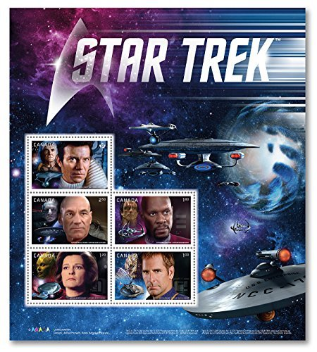 Star Trek Pane of 5 Stamps by Canada Post. Official Canadian Stamps.