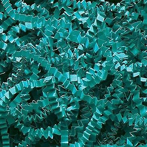 Custom & Unique {12 Ounces} of Crinkle Cut Shredded Gift Basket Filler Paper Made From Cardstock w/ Cool Aqua Turquoise Teal Tone Bright Fun Decorative Holiday Nautical Boys Design (Blue)