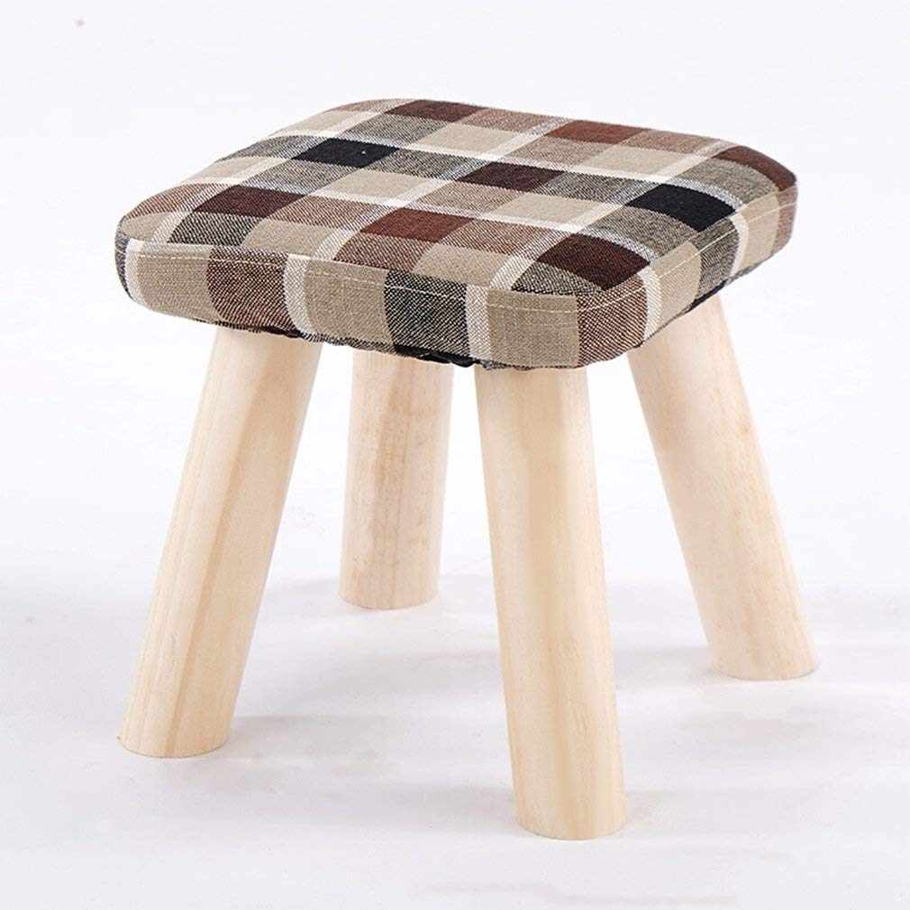Brown Ronggoutrade Small Stool, Creative Stool Fabric Short seat Sofa Stool Solid Wood shoes Bench Small Bench - Small Stool (color   bluee)