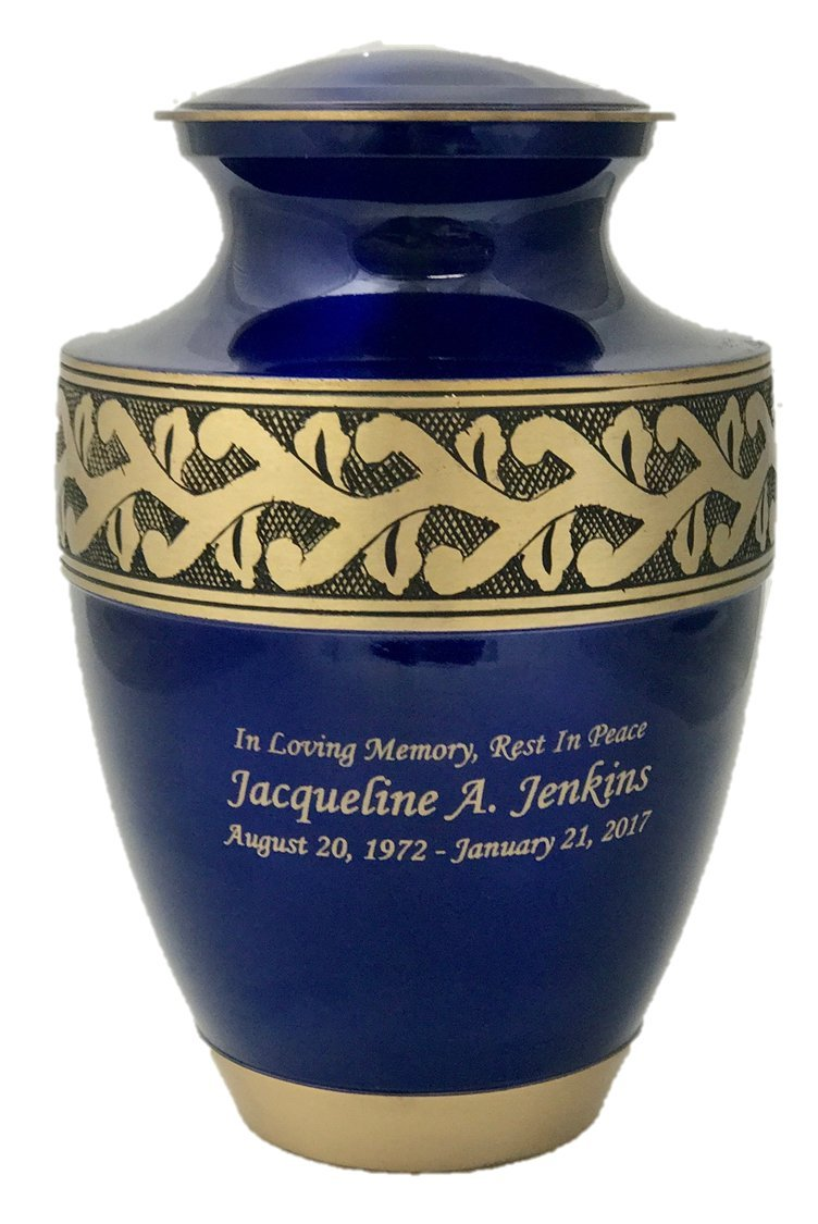 Customized Adult Cremation Urn Beautiful Funeral Urns with Personalisation and Velvet Bag