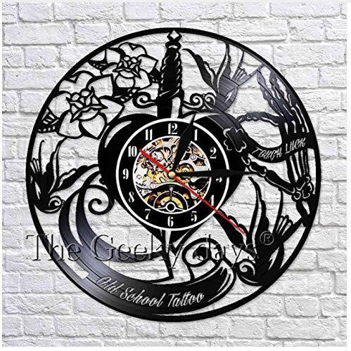 Ayzr 1 Pieza Disco De Vinilo Reloj Tatuaje Decoración De Pared Old ...