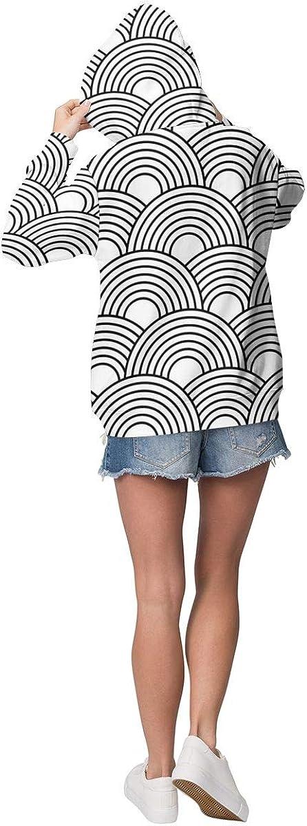 sanlianwangluokeji Custom Womens Hoodie Sweatshirt Pullover Beach Pattern Casual Hooded Tops Abstract Seamless Pattern With Circles