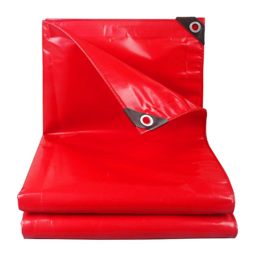 JIBIN SHOP® ターポリン、屋外サンシェード防水寒さと厚いターポリン、車の屋根トラックのレインカバー、赤 + (サイズ さいず : 6X8M) 6X8M  B07M8FR1ZW