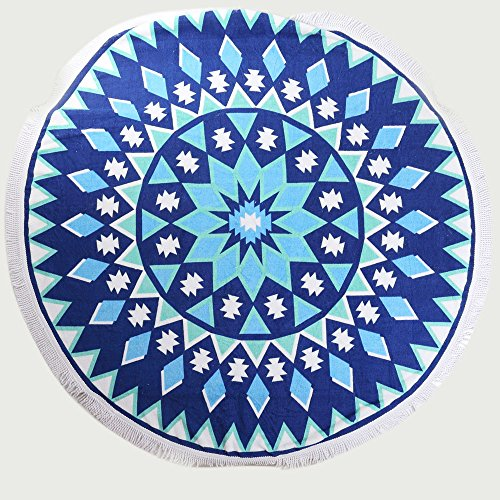 ANswet 900 Grams Superior Manual Beaded Tassel 100% Cotton 59 inches Round Beach Towel Throw Tapestry Gypsy Tablecloth Yoga Mat cut velvet Super Soft(blue ()