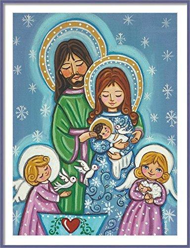 Holy Family print Folk art nativity print Nativity painting Mary Joseph Jesus birth Christening gift Christmas decoration Christmas print Baptism gift boy Baptism gift girl Christening gifts for boys