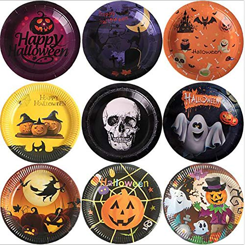 7Queen Disposable Plates - 7-Inch Paper Plates, Halloween Wizard Themed Party Supplies, Biodegradable Plates for Appetizers, Lunch, Dinner, and Desserts 10pcs