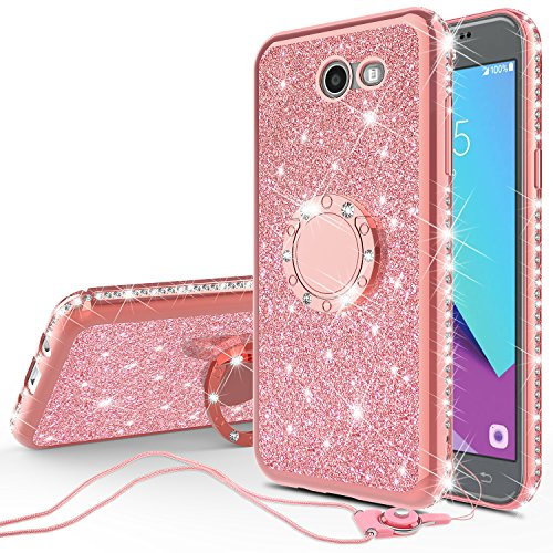 Glitter Cute Phone Case with Kickstand for Galaxy J7v Case,Galaxy J7 Sky Pro Case,Galaxy Halo Case, Bling Diamond Rhinestone Bumper Ring Stand Sparkly Clear Thin Soft Protective for Women - Rose Gold