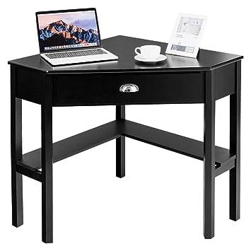 Amazoncom Tangkula Corner Desk Corner Computer Desk Wood Compact