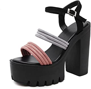 Kitzen New Womens Party Banquet Fight Color Hollow High Heel Sandals Chaussures Taille Ladies Ankle Strap Platform Chunky