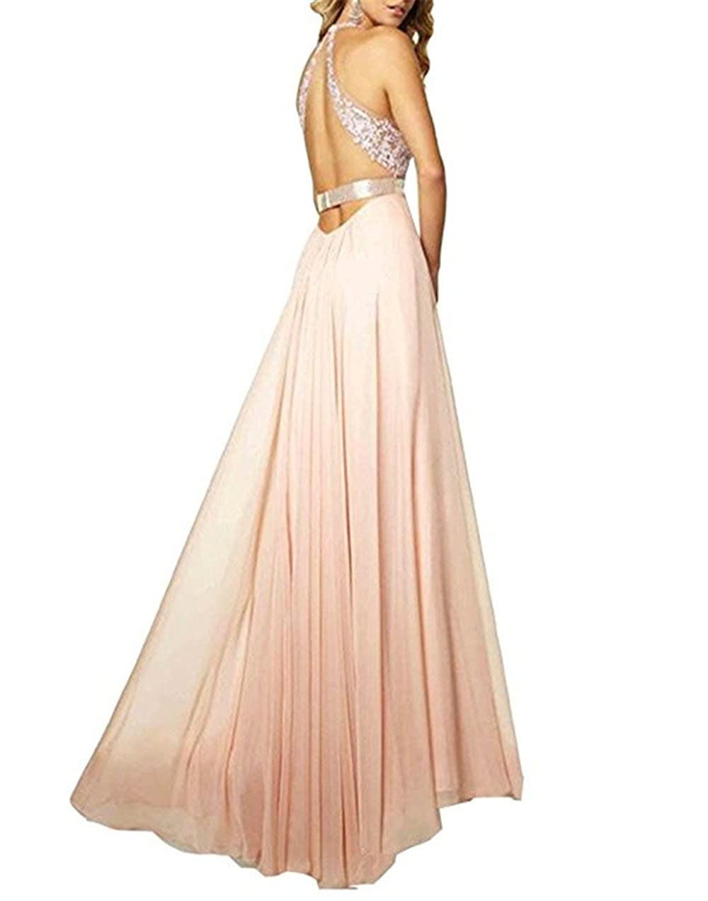YSMei Womens V Neck Side Split Long Prom Dress Backless Evening Party Gown P012