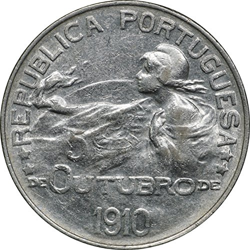 - 1910 Portugal Silver 1 Escudo, KM# 560, Birth of Republic, Lightly Cleaned, About Uncirculated