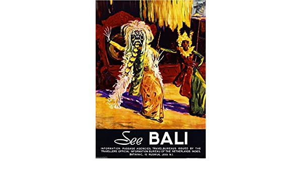 Amazon.com: See Bali Indonesia #3 Vintage Travel Advertisement Art Poster: Posters & Prints