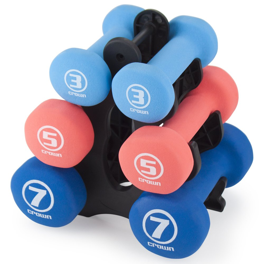 Crown Sporting Goods Set of 3 Pairs of Neoprene Body Sculpting Hand Weights with Stand by