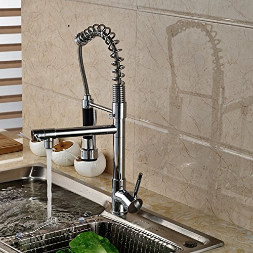 Senlesen Chrome Pull Out Down Spray Deck Mount Kitchen Torneira Cozinha Tap Mixer Cock Faucet with Hot and Cold Water by Senlesen (Image #3)