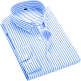 Mens Business Casual Long Sleeve Vertical Striped Slim Fit Dress Shirts Tops