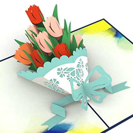 Amazon Com Unipop Cards Tulips Pop Up Card 3d Flower Cards