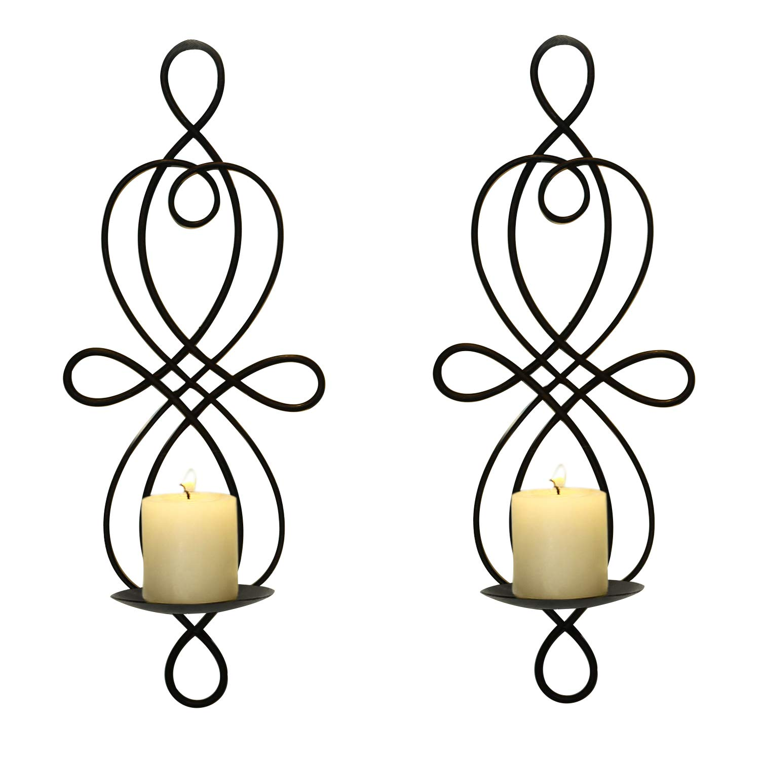 FrameArmy Iron and Glass Vertical Wall Hanging Candle Holder Sconce, Holds Two Pillar Candles SD007
