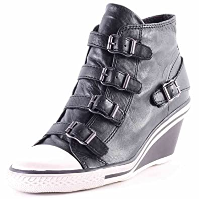 943731e9714 Ash Genial Low Wedge Black leather Trainer 37EU 4UK Black  Amazon.co ...