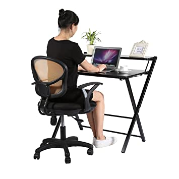 Yosoo Plegable Mesa Escritorio de Computadora, PC, Ordenador Portátil para trabajo en Casa o Oficina (Negro): Amazon.es: Hogar