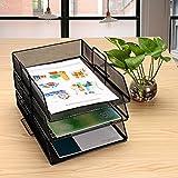 Huayao 3 Tier Metal Mesh Desktop File Document Organizer Tray Office Supply Storage Holder