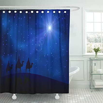 Emvency Shower Curtain Set Waterproof Adjustable Polyester Fabric Bethlehem Christian Christmas Scene With The Three Wise