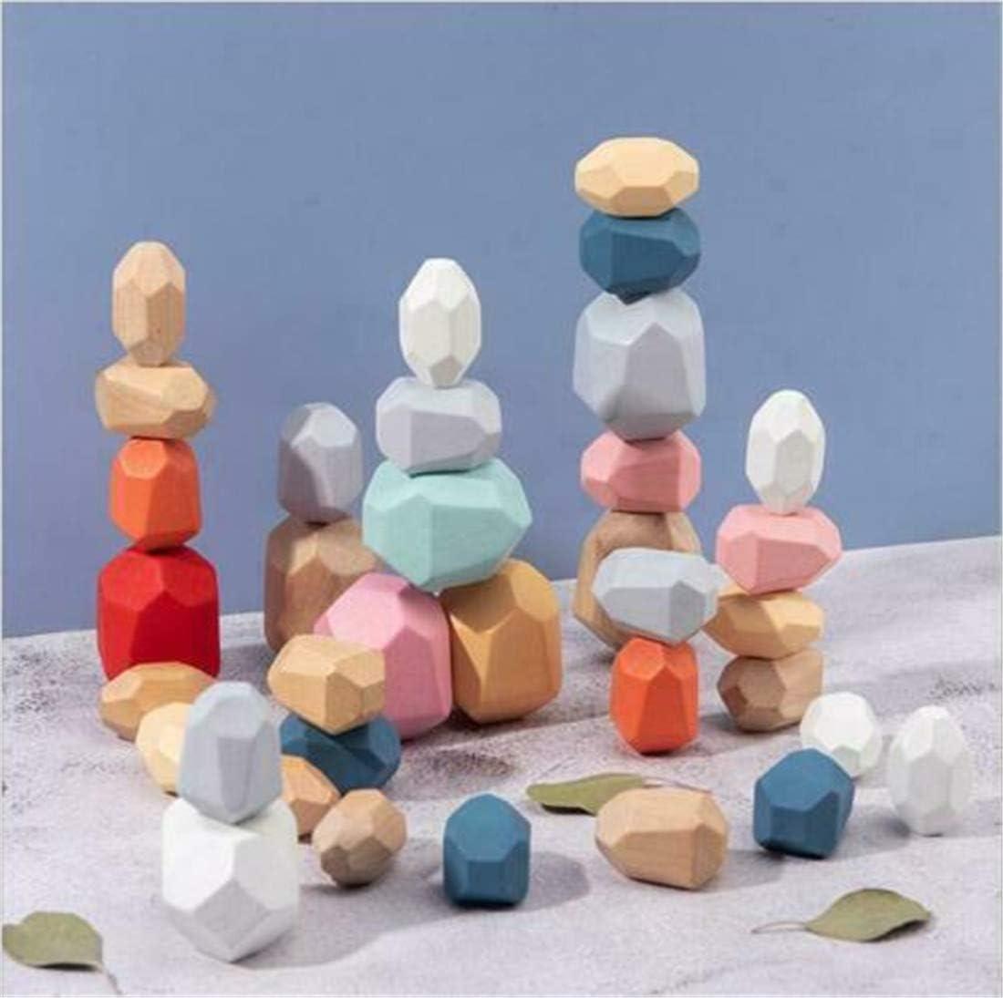 i4t.AIX 16 Unids Coloridos Juegos de Apilamiento de Madera Rainbow Jenga Bloques de Construcción de Piedras de Madera Juguetes de Apilamiento Creativos Divertidos Juguetes Educativos Juegos: Amazon.es: Hogar