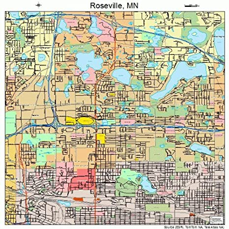 Amazon.com: Large Street & Road Map of Roseville, Minnesota ...