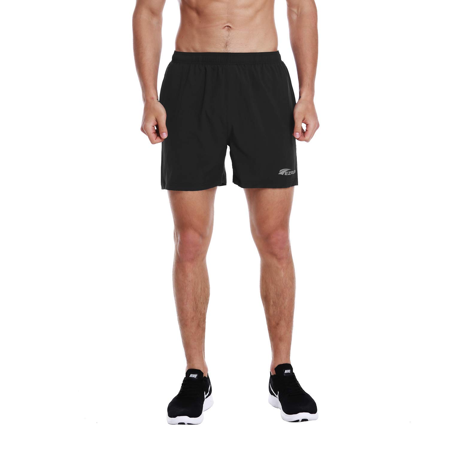 EZRUN Men's 5 Inches Running Workout Shorts Quick Dry Lightweight Athletic Shorts with Liner Zipper Pockets,Black,XXL by EZRUN