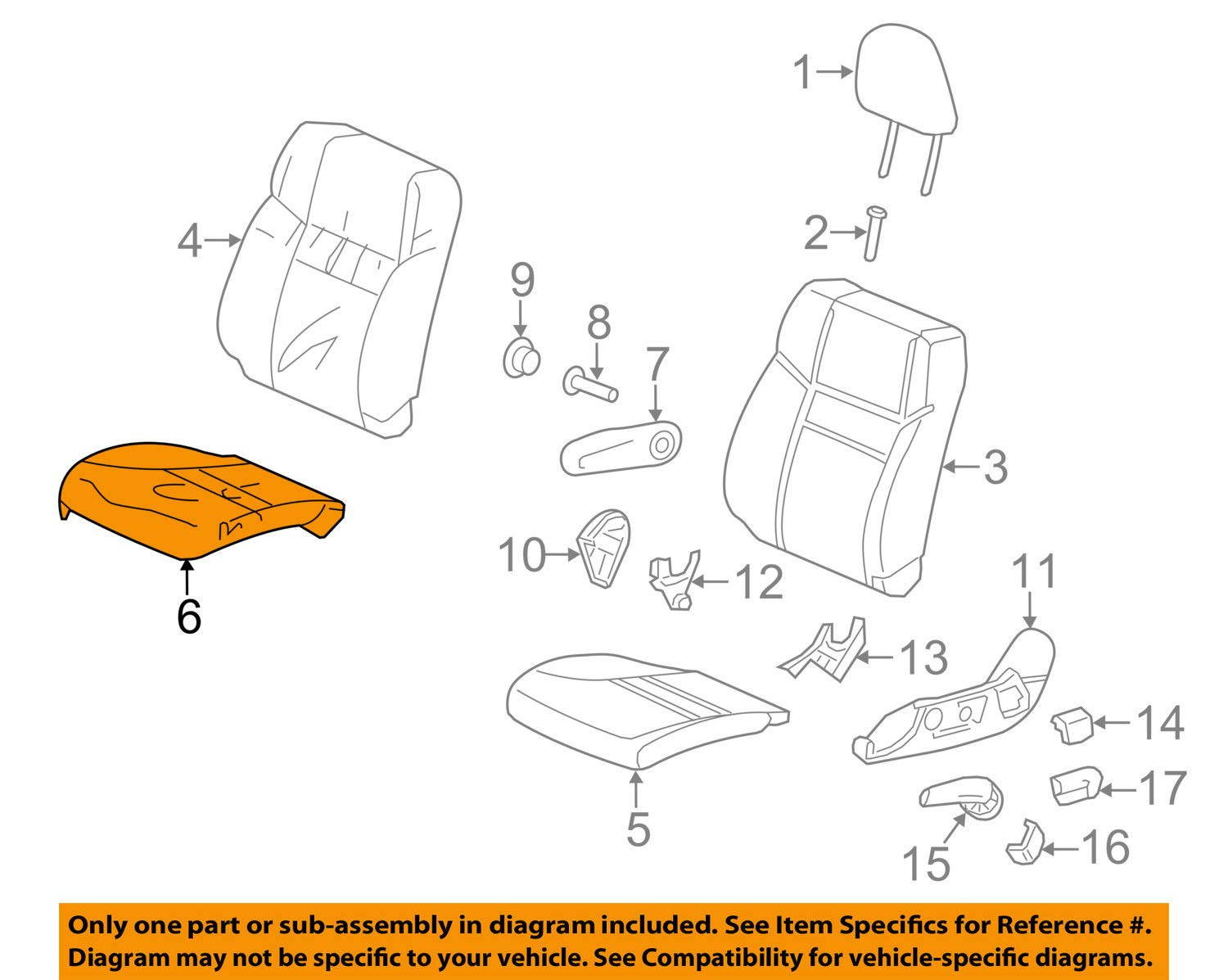 Honda Genuine 81531-T0A-A21ZB Seat Cushion Trim Cover Left Front