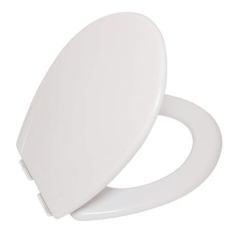 ATD Asiento de WC de inodoro con cierre suave lento, tapa del váter, bisagras ajustables de fijación inferior, antibacteriano, blanco, Asiento de Inodoro ...