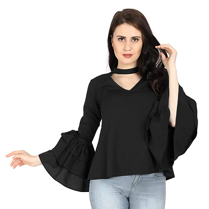 61f5d7f35c45c VAANYA Western Stylish Long Flared Ruffled Bell Sleeve V Neck Rayon Black  Regular Fit Top for