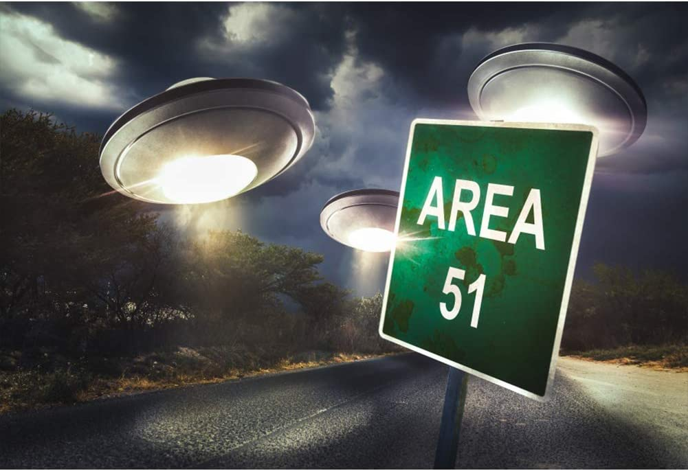 CSFOTO 5x3ft Area 51 Backdrop Flying Saucer Alien UFO Theme Birthday Party Background for Photography Boy Room Decor Wallpaper Boys Kids Theme Party Photo Studio Props
