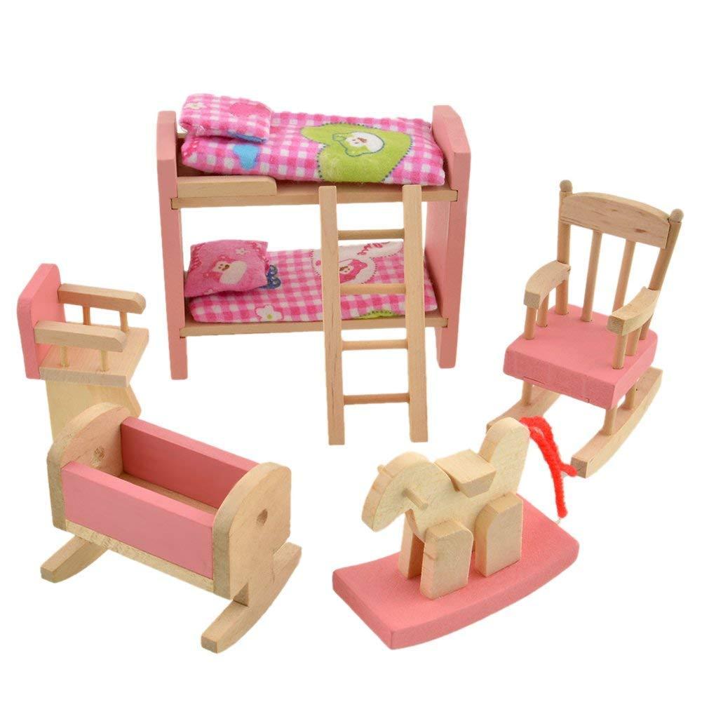 Wishlink Baby Kids Play Pretend Toy Design Wooden Doll Furniture Dollhouse Miniature Children Gifts (Bunk Bed)