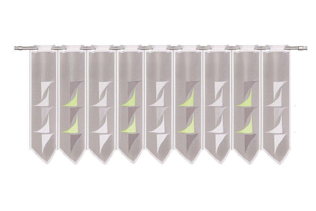 Scheibengardine abstrakt 30 cm hoch Breite der Gardine durch St/ückzahl in 30 cm Schritten w/ählbar wei/ß gr/ün grau Farbe