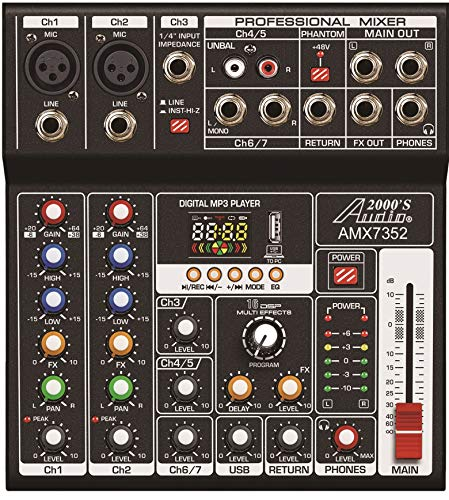 Cheapest Prices! Audio2000'S AMX7352 Seven-Channel Audio Mixer with USB 5V Power Supply, USB Interfa...