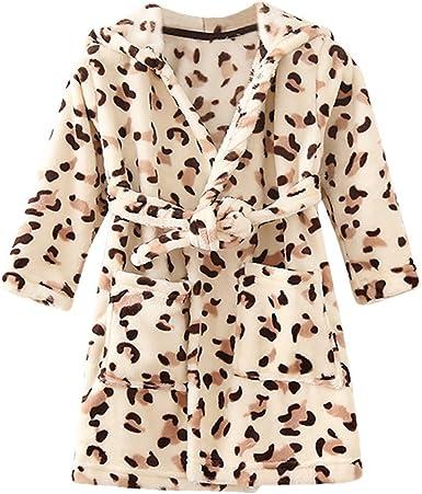 OCEAN-STORE Baby Boys Girls Flannel Bathrobe Cow Leopard Print Thick Warm Night-Robe Pajamas