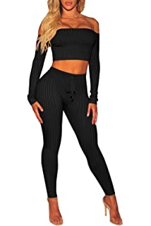 e7bf1fc1ae Amazon.com  PlushZone Women s Sexy Sweater 2 Pieces Outfits Casual ...