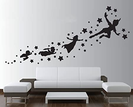 Peter pan shadow wall decal removable vinyl sticker mural window ...