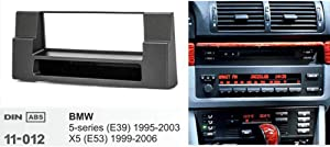 PSOIHGTFS Single Din Car Radio Fascia Fit for 5-Series (E39) 1995-2003 X5 (E53) 1999-2006 W/Pocket DVD Stereo Panel Dash Mount Frame Kit