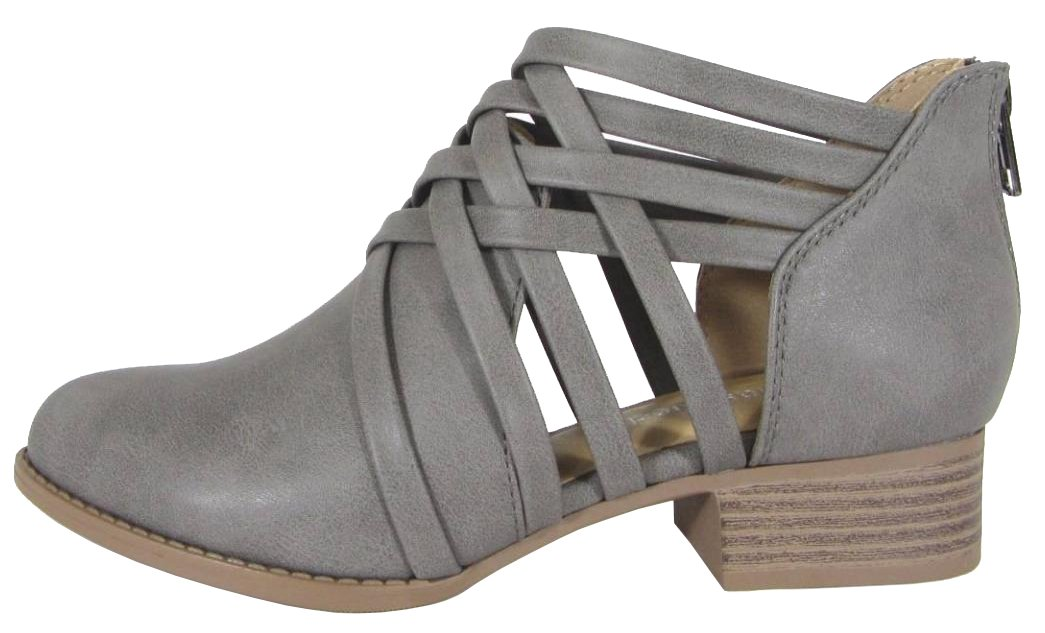 City Classified Women's Woven Strappy Cut Out Chunky Stacked Heel Ankle Bootie (9 B(M) US, Grey PU)