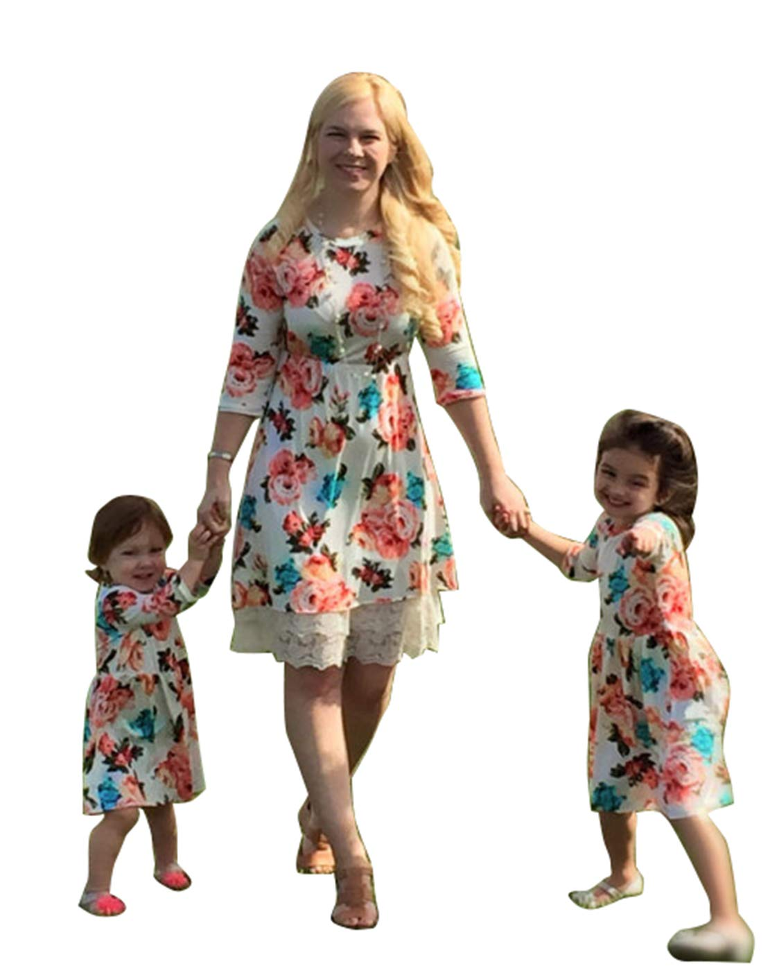 Mommy and Me 1 Piece Floral Print Dress Family Matching Long Sleeve High Waist Lace Midi Dress Spring Fall Outfits (Floral, Daughter/1-2T)